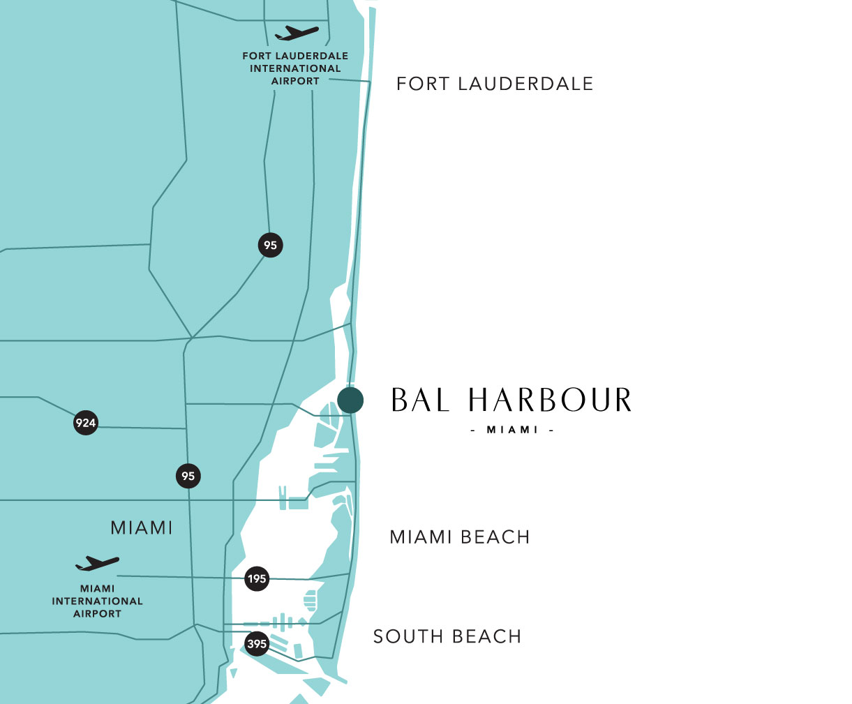bal harbour map and guide to hotels near south beach, miami