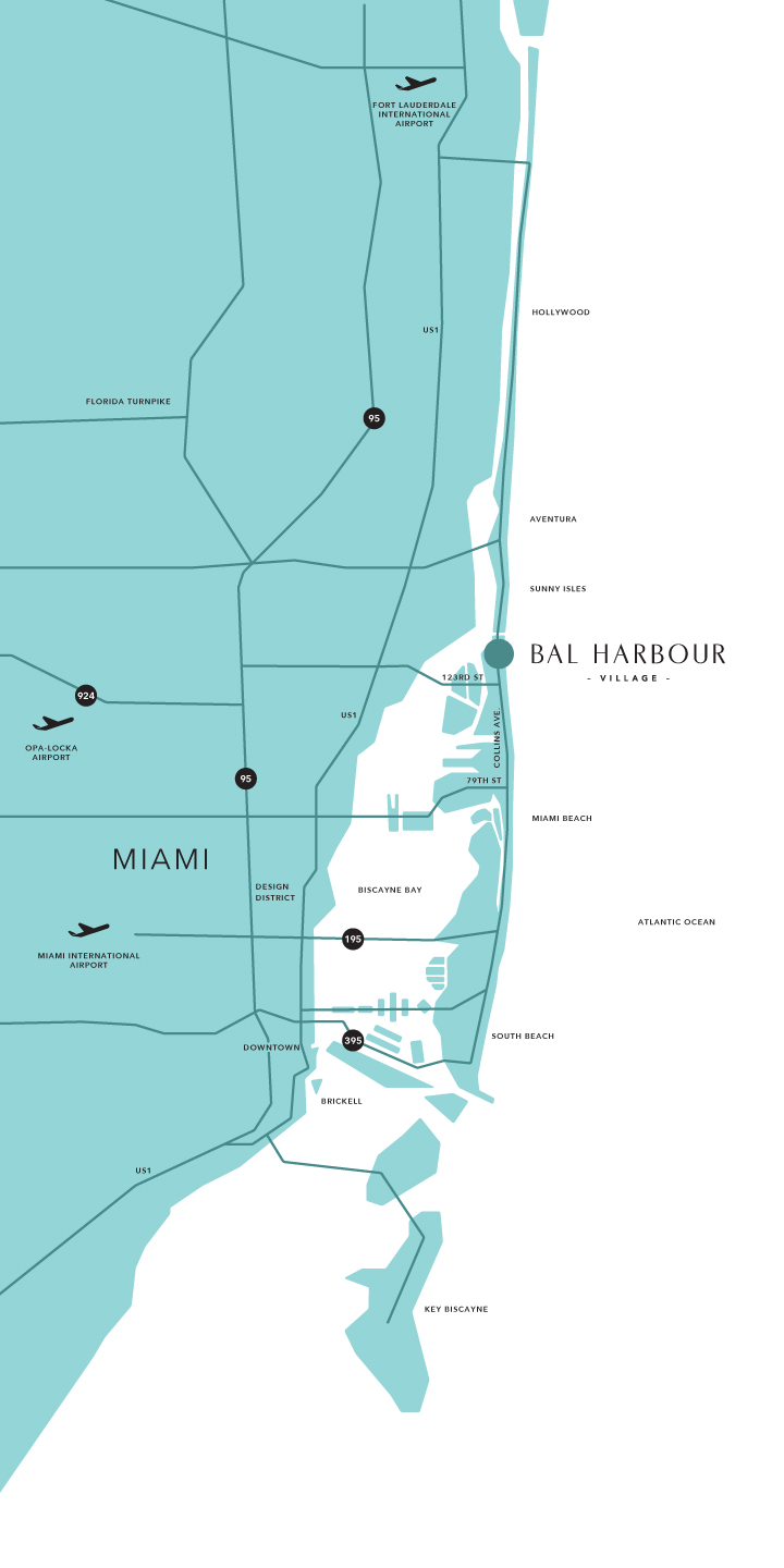 Florida Turnpike Map.Bal Harbour Map And Guide To Hotels Near South Beach Miami